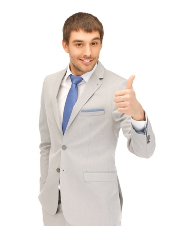 one of a kind: bright picture of handsome man with thumbs up