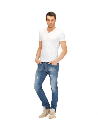 cute guy: bright picture of handsome man in  white shirt