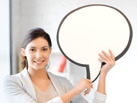 bright picture of smiling businesswoman with blank text bubble Stock Photo - 13468519