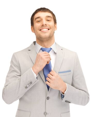 bright closeup portrait picture of happy businessman photo