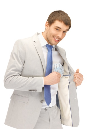 picture of handsome man with euro cash money Stock Photo - 13538914