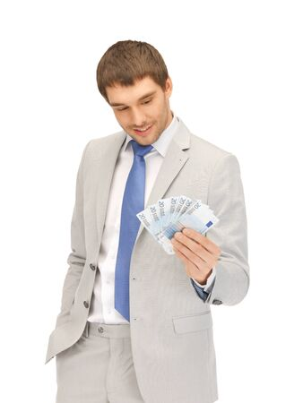 picture of handsome man with euro cash money Stock Photo - 13538929