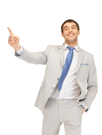 picking fingers: picture of attractive businessman pointing his finger