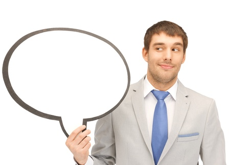 bright picture of smiling businessman with blank text bubble Stock Photo - 13538846