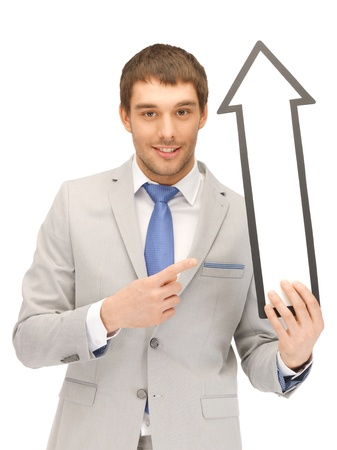 picture of attractive businessman with direction arrow sign photo
