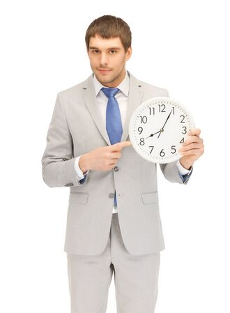late 20s: bright picture of handsome man with clock