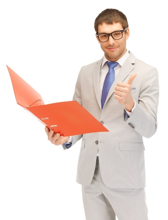 bright picture of handsome man with folders photo