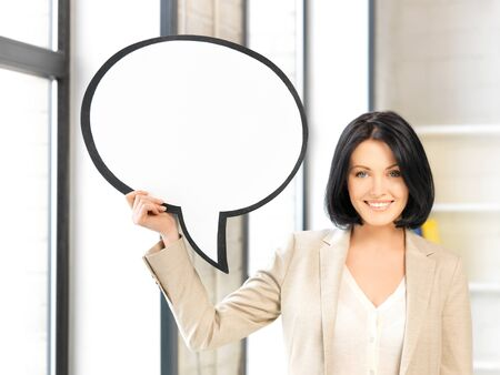 bright picture of smiling businesswoman with blank text bubble Stock Photo - 13618817