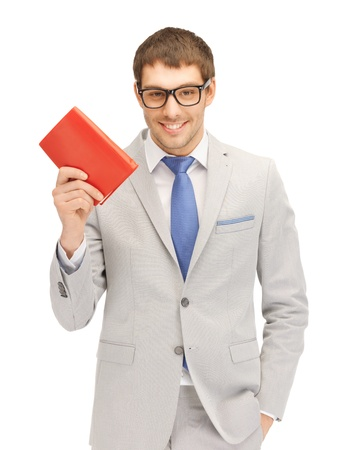 bright picture of happy man with book photo
