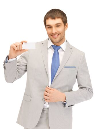 notecard: bright picture of confident businessman with business card