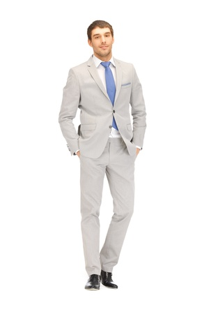 businessman standing: bright full length picture of handsome man