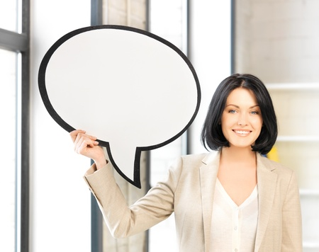 bright picture of smiling businesswoman with blank text bubble Stock Photo - 13636439