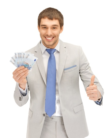 euro notes: picture of handsome man with euro cash money