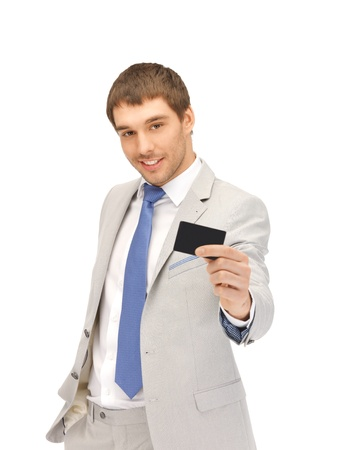 bright picture of happy businessman with credit card photo