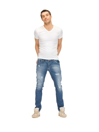 man t shirt: bright picture of handsome man in white shirt