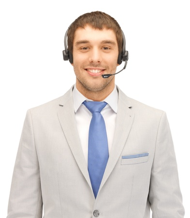 bright picture of friendly male helpline operator Stock Photo - 13772759
