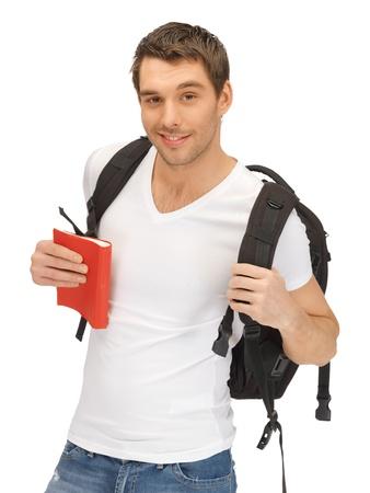 mochila viaje: imagen brillante estudiante de viajar con mochila y libro