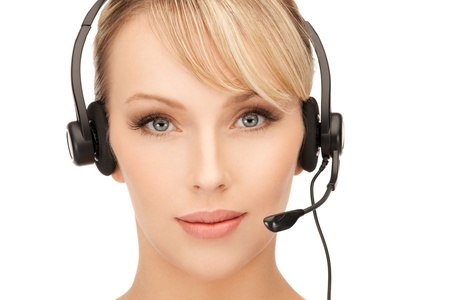 receptionist: bright picture of friendly female helpline operator