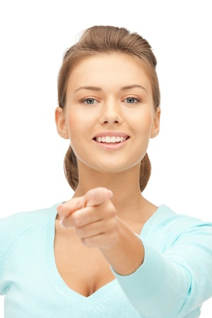 directing: picture of attractive businesswoman pointing her finger