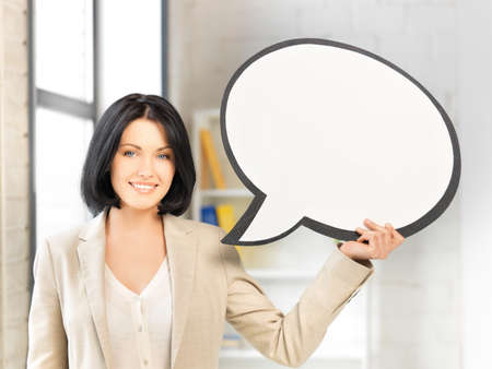 bright picture of smiling businesswoman with blank text bubble Stock Photo - 13818602