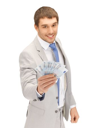 picture of handsome man with euro cash money Stock Photo - 13818622