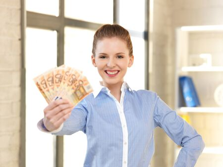 bank notes: bright picture of lovely woman with euro cash money