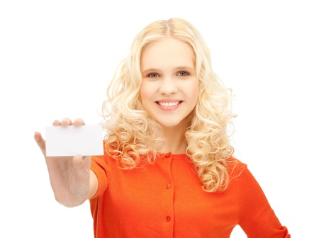 picture of attractive student with business card Stock Photo - 13818586