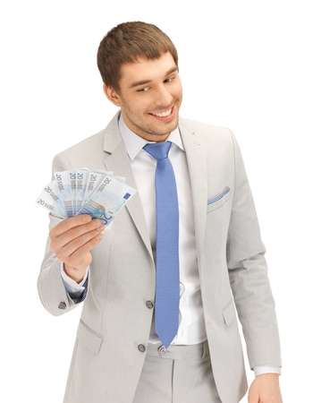 lucky man: picture of handsome man with euro cash money