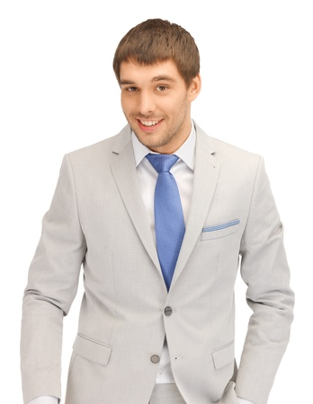 bright closeup portrait picture of happy businessman photo