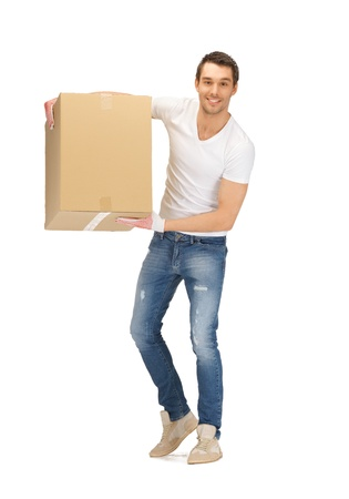 picture of handsome man with big box Stock Photo - 13957111