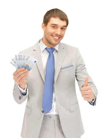 picture of handsome man with euro cash money photo