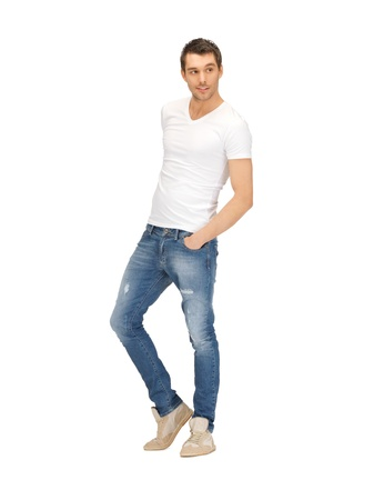 white shirt: bright picture of handsome man in white shirt