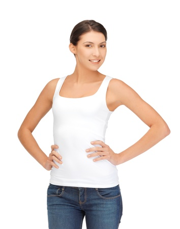 teenage girl happy: happy and smiling woman in blank white t-shirt