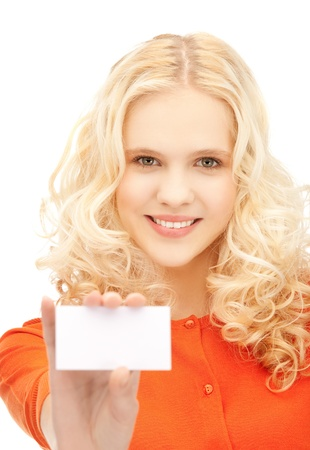 picture of attractive student with business card photo