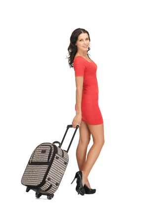 bright picture of lovely woman with suitcase Stock Photo - 14048046