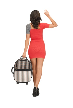 goodbye: bright picture of woman with suitcase waving hand