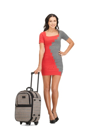 bright picture of lovely woman with suitcase Stock Photo - 14066991