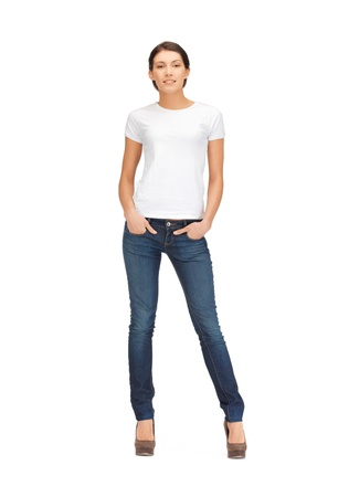 t shirt: happy and smiling woman in blank white t-shirt