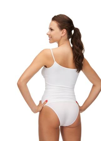 vrouw ondergoed: beeld van mooie vrouw in katoen undrewear Stockfoto