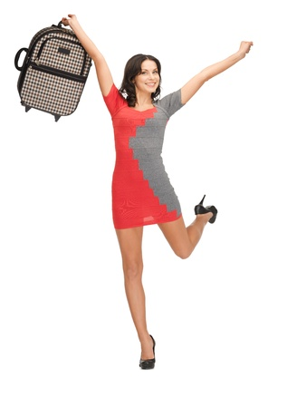 bright picture of lovely woman with suitcase Stock Photo - 14077922