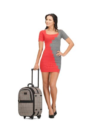 bright picture of lovely woman with suitcase Stock Photo - 14094965