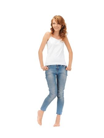 happy teenage girl in blank white t-shirt photo
