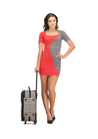 bright picture of lovely woman with suitcase Stock Photo - 14113899