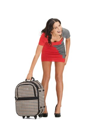 bright picture of unhappy woman with heavy suitcase Stock Photo - 14113847