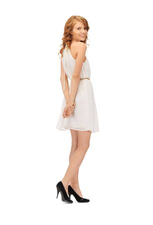 picture of lovely teenage girl in elegant dress photo