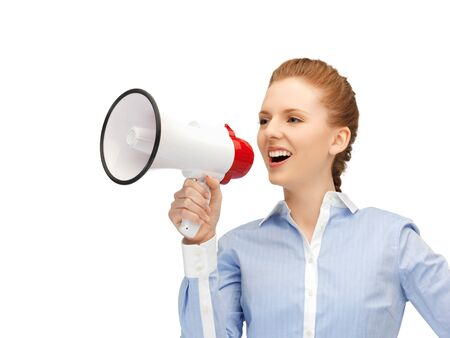 bright picture of happy woman with megaphone Stock Photo - 14257557