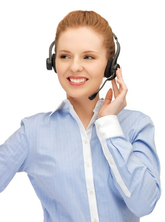 bright picture of friendly female helpline operator Stock Photo - 14257614