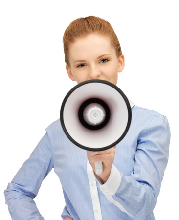 bright picture of happy woman with megaphone Stock Photo - 14288546