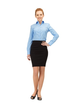 bright picture of happy and smiling stewardess photo