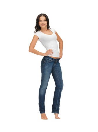 happy woman in blank white t-shirt Stock Photo - 14288460